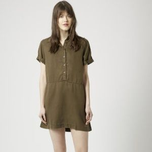 Topshop PETITE Casual Shirt Dress in Olive, Size 2